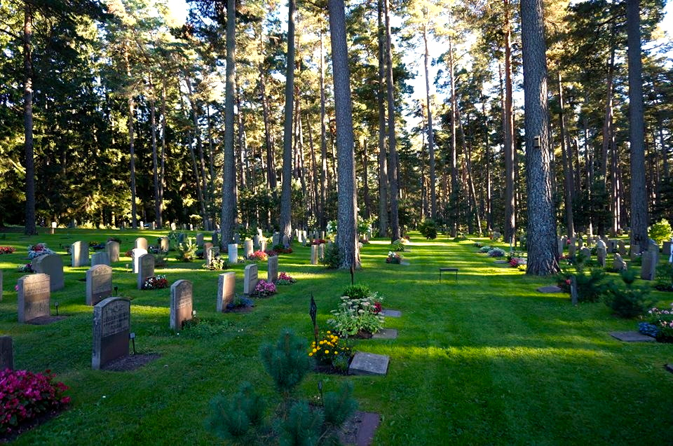 resting in peace at the bottom of the trees. a place just like you always told us. you would have liked stockholms wood cemetery skogskyrogarden.