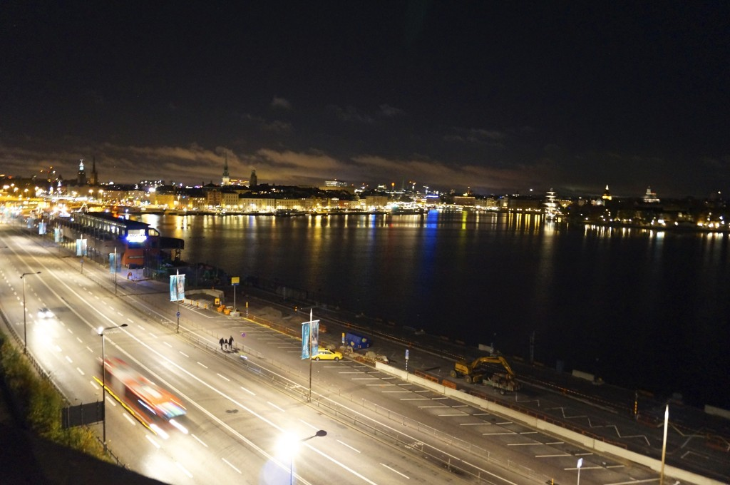 after dinner we enjoyed the view at slussen port   from the restaurants terrace for one last time