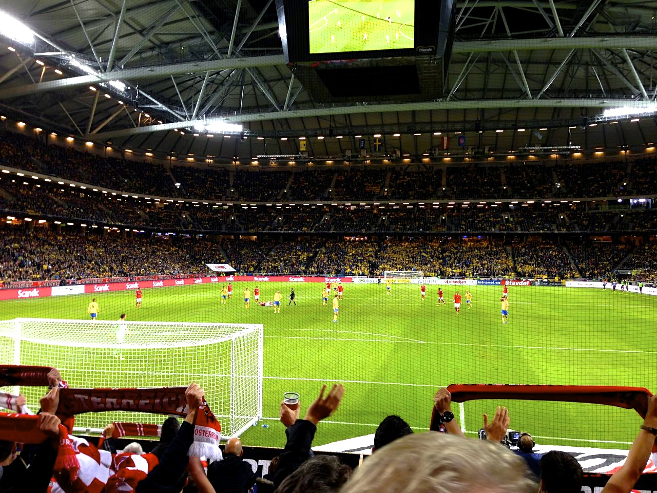 sweden vs austria for the world cup qualifies at the friends arena in solna. what a nice stadium and great atmosphere