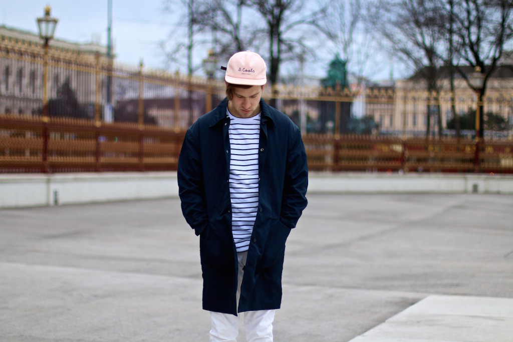 Meanwhileinawesometown Menswear Blogger H&M Modern Essentials Selected by David Beckham H&M Studio SS16 Coat Zanerobe Striped Longsleeve Barney Cools Cap1