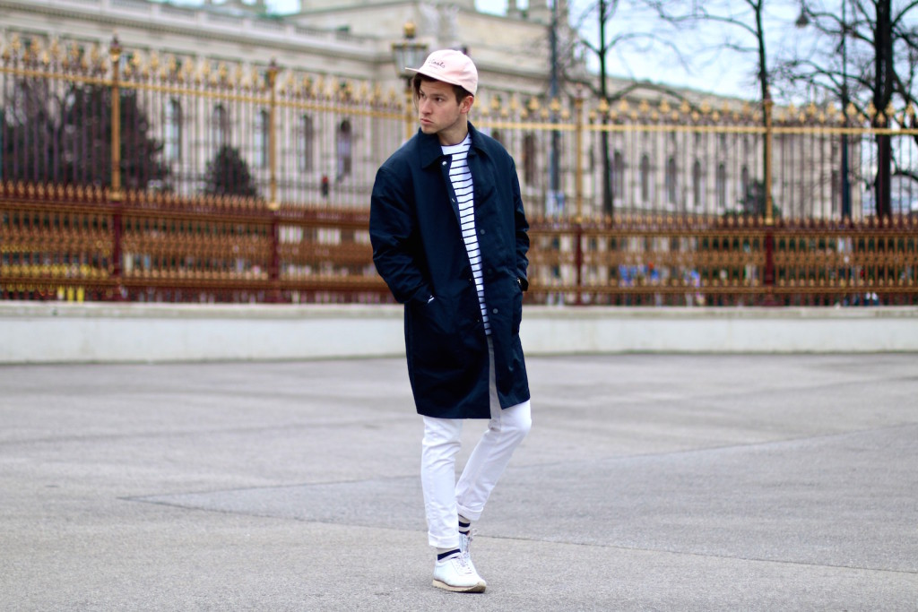Meanwhileinawesometown Menswear Blogger H&M Modern Essentials Selected by David Beckham H&M Studio SS16 Coat Zanerobe Striped Longsleeve Barney Cools Cap11
