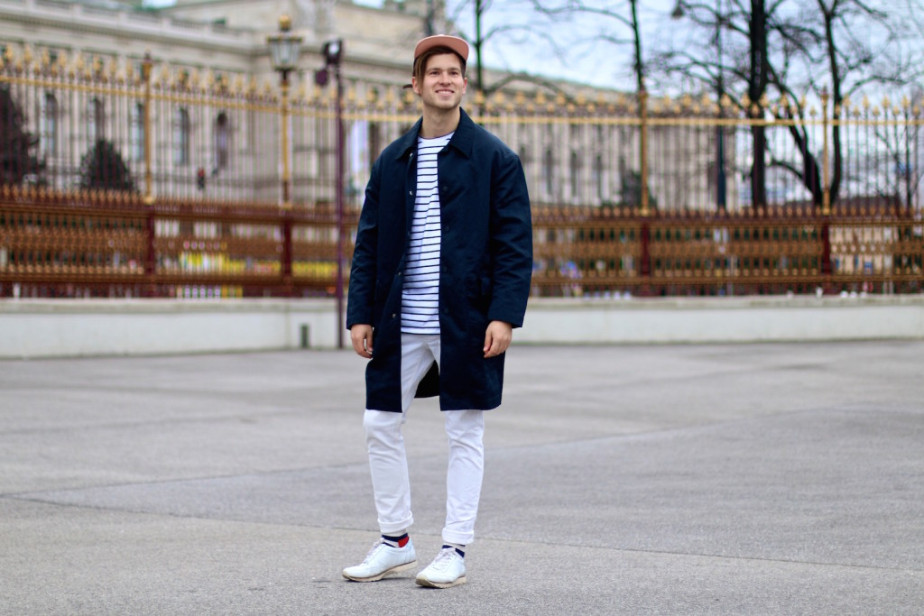 Meanwhileinawesometown Menswear Blogger H&M Modern Essentials Selected by David Beckham H&M Studio SS16 Coat Zanerobe Striped Longsleeve Barney Cools Cap2