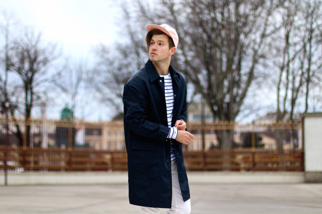 Meanwhileinawesometown Menswear Blogger H&M Modern Essentials Selected by David Beckham H&M Studio SS16 Coat Zanerobe Striped Longsleeve Barney Cools Cap6