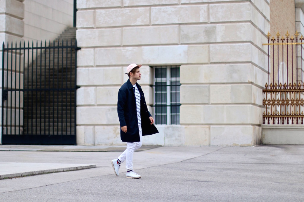 Meanwhileinawesomwtown Menswear Blogger H&M Modern Essentials Selected by David Beckham H&M Studio SS16 Coat Zanerobe Striped Longsleeve Barney Cools Cap5