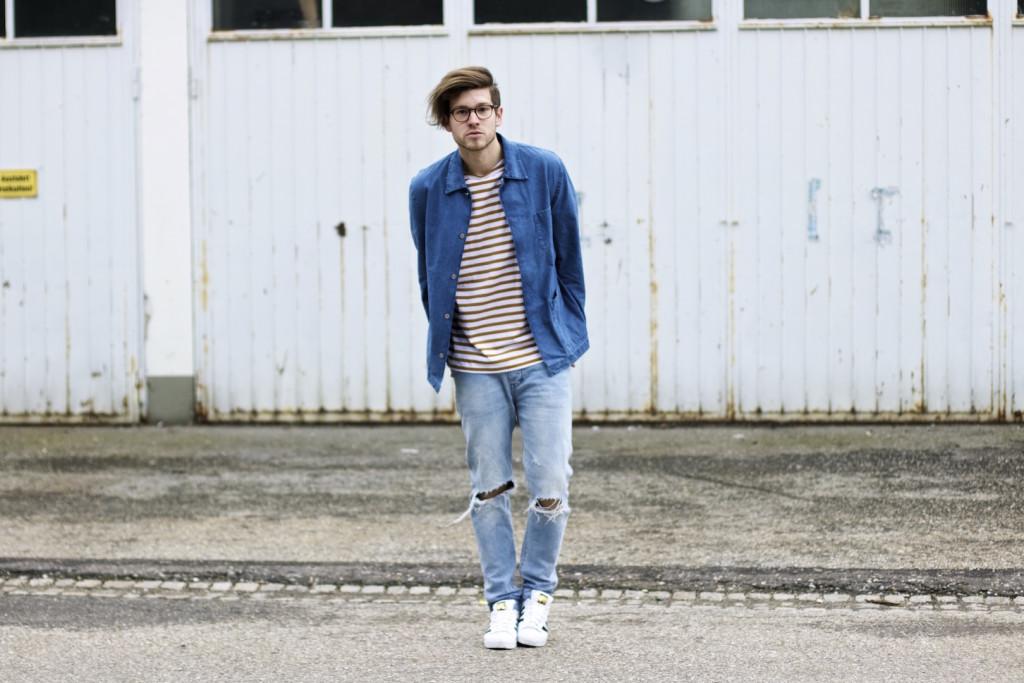 meanwhileinawesometown modeblogger denim and stripes outfitpost herrenmode frühlingstrends 2016 hm neuw denim adidas originals 6