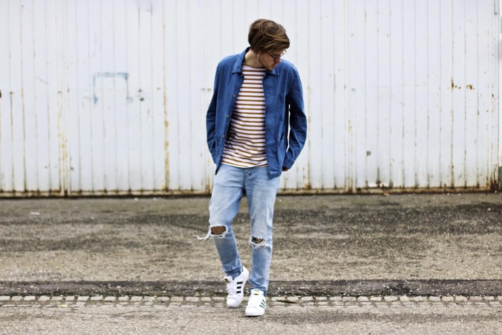 meanwhileinawesometown modeblogger denim and stripes outfitpost herrenmode frühlingstrends 2016 hm neuw denim adidas originals 7