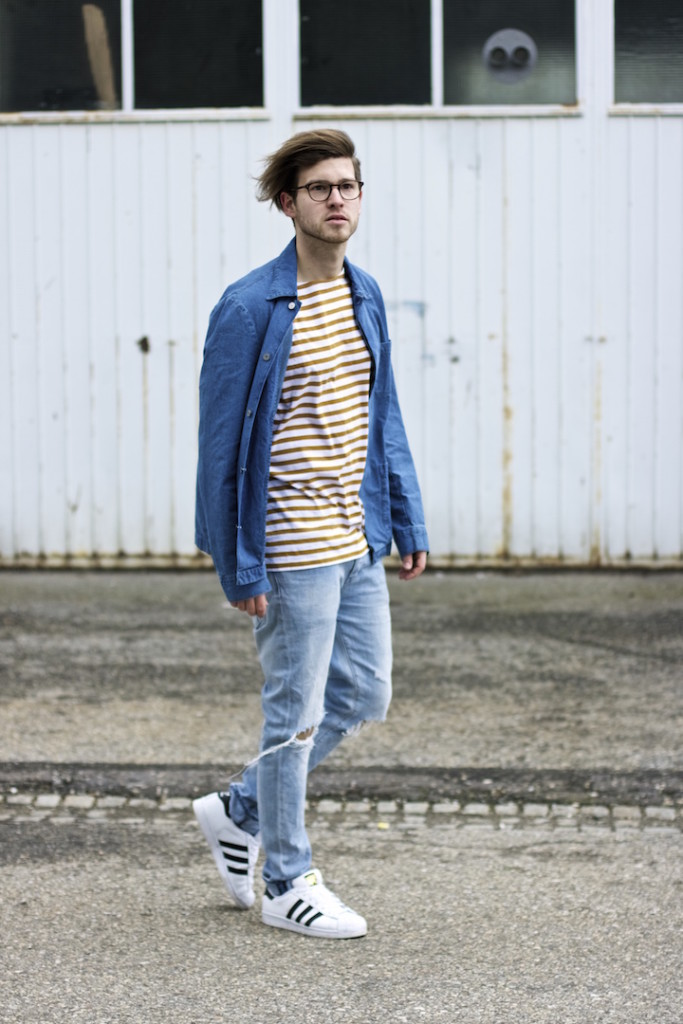 meanwhileinawesometown modeblogger denim and stripes outfitpost herrenmode frühlingstrends 2016 hm neuw denim adidas originals 9
