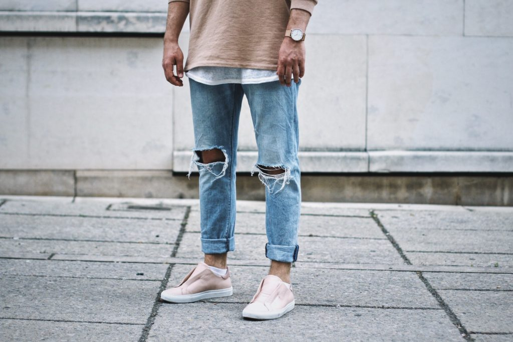 Meanwhileinawesometown Mens Fashion and Lifestyle Blog for Men Outfitpost NEUW Denim Ripped Jeans Axel Arigato Nude Laceless Sneakers Jack and Jones Hoodie Blonde Hair Male blogger