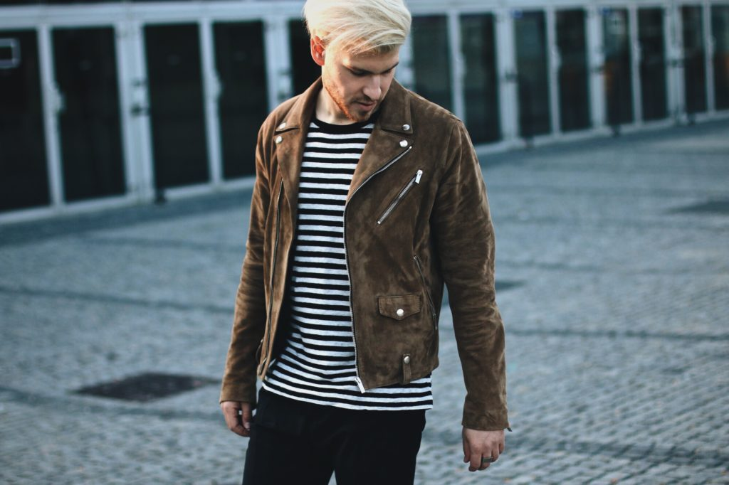 Meanwhileinawesometown Mens Fashion and Lifestyle Blog for Men Outfitpost the Kooples Suede Biker Jacket Sandro Paris Striped T-Shirt Drykorn Trousers ETQ Sneakers Blonde Hair Male blogger