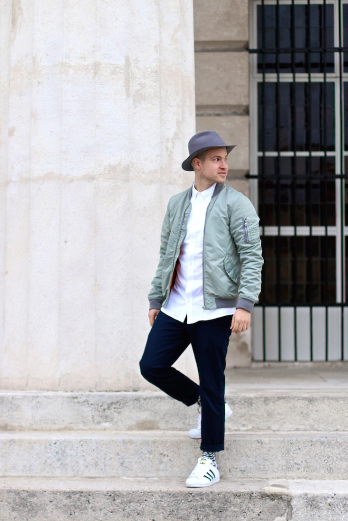 Meanwhileinawesometown | Mens Fashion and Style Blog | Outfit Asket Oxford Shirt Zanerobe Box Chinos Adidas Superstar Scotch and Soda Bomber Jacket