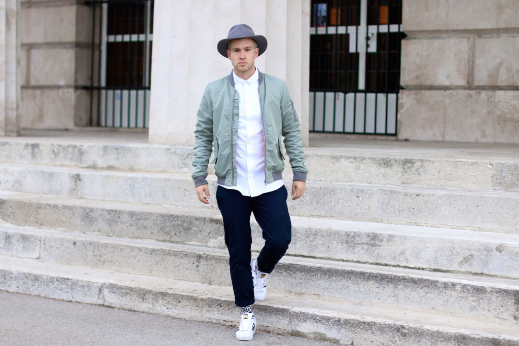 Meanwhileinawesometown | Mens Fashion and Style Blog | Outfit Asket Oxford Shirt Zanerobe Box Chinos Adidas Superstar Scotch and Soda Bomber Jacket_2