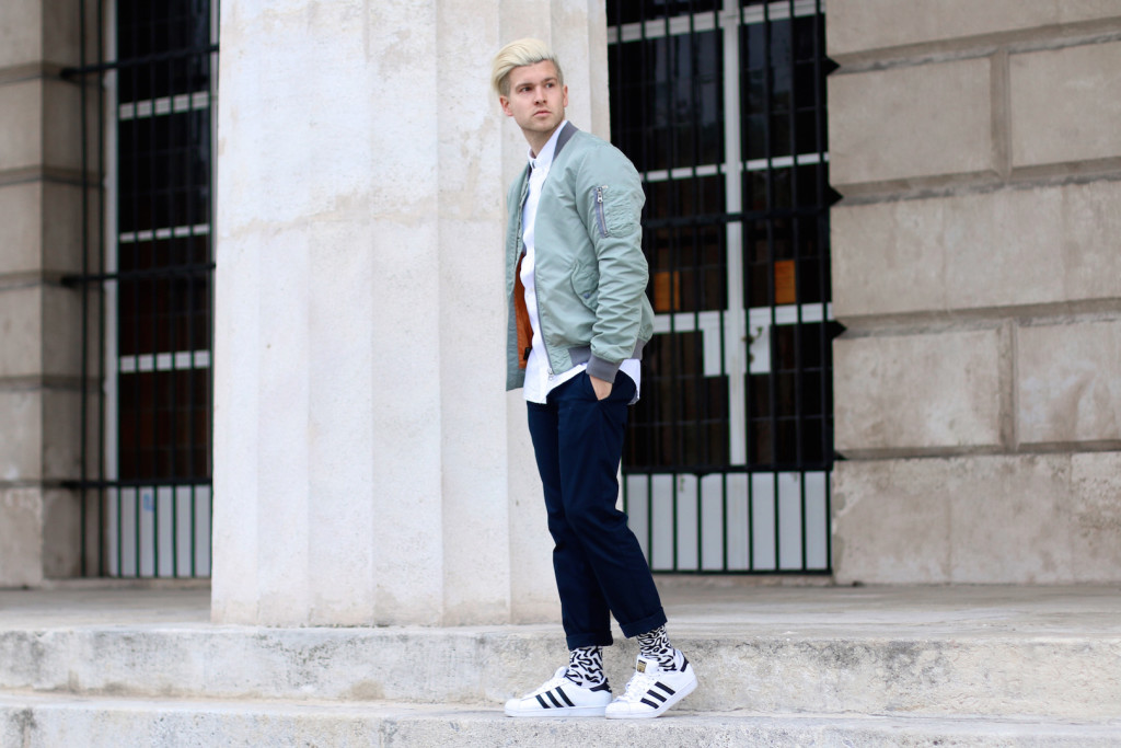 Meanwhileinawesometown | Mens Fashion and Style Blog | Outfit Asket Oxford Shirt Zanerobe Box Chinos Adidas Superstar Scotch and Soda Bomber Jacket_4