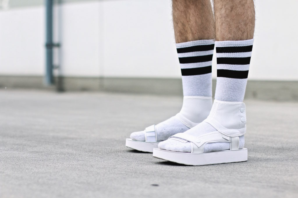 f54fb4229201 han kjobenhavn x teva sandals and white socks h m denim onsie meanwhile in  awesometown mensfashion and