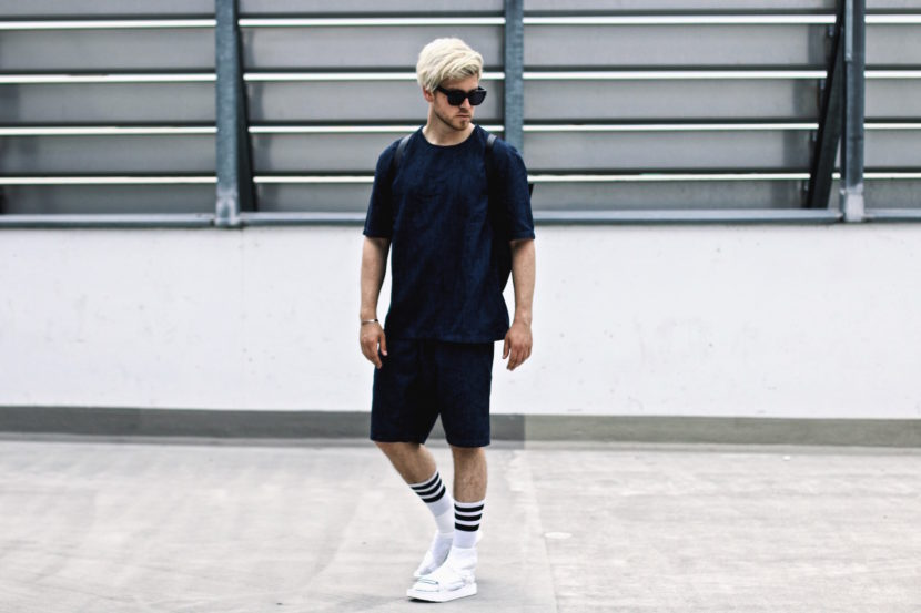 han kjobenhavn x teva sandals and white socks h&m denim onsie meanwhile in awesometown mensfashion and lifestyle blogger ace and tate shades