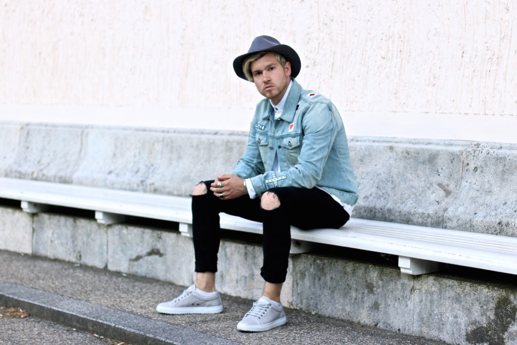 extraordinary ripped denim jacket outfit men 2017