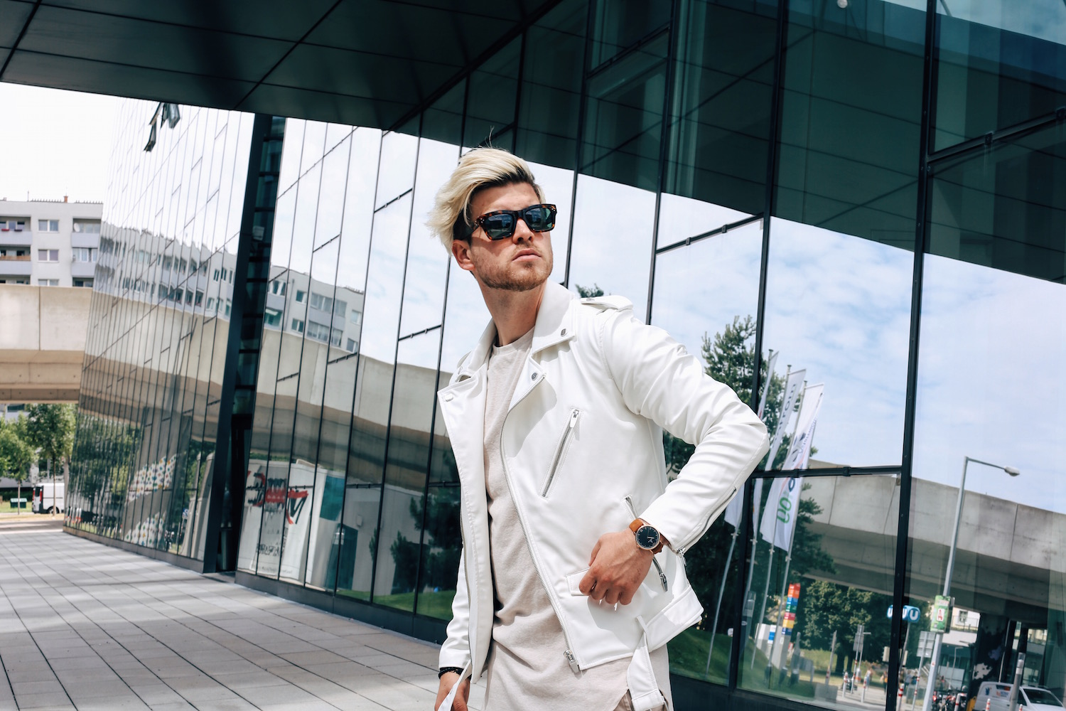 Outfit Neutral Colors White Biker Jacket Meanwhileinawesometown