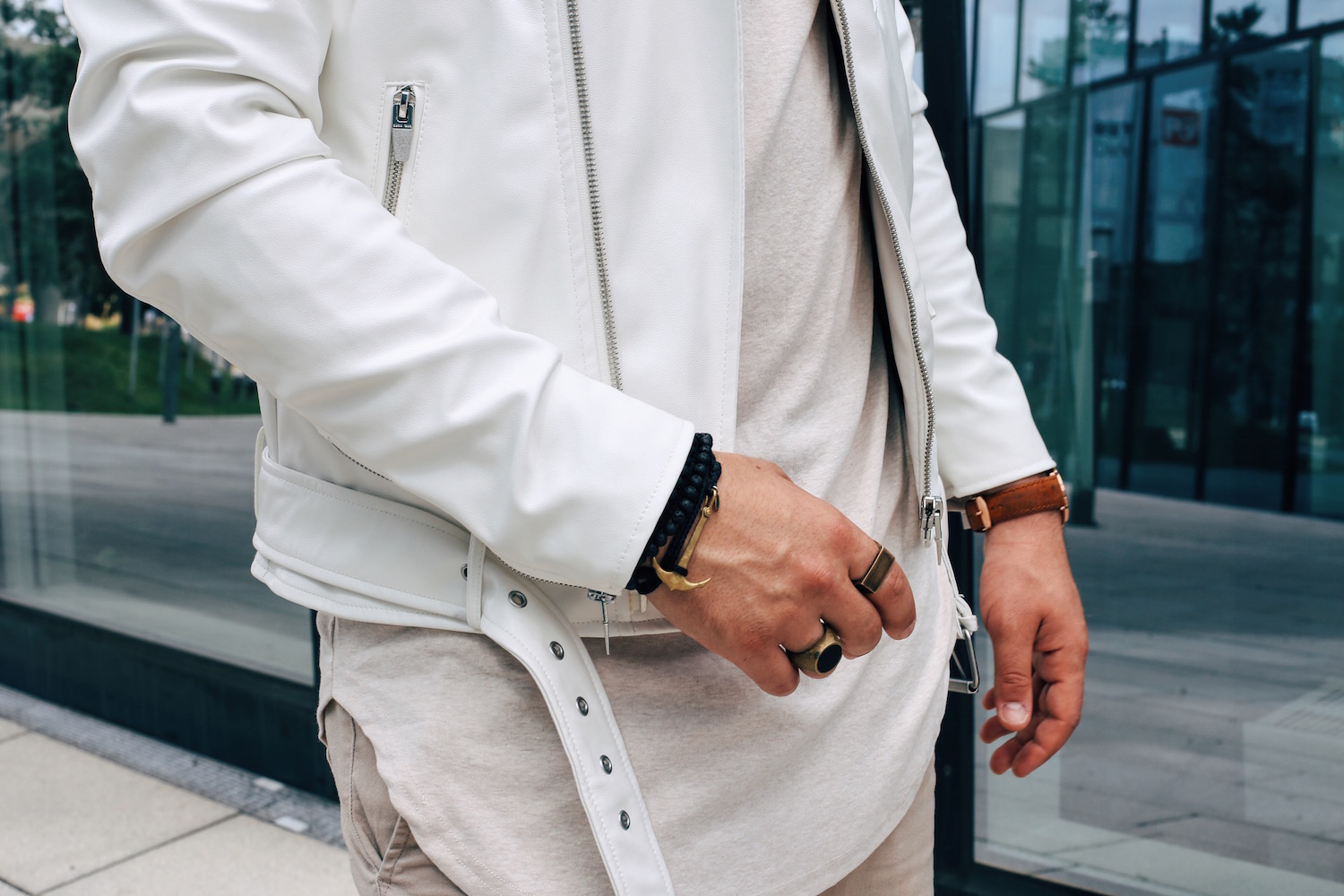 White Biker Jacket Summerly Biker Look White on Beige Meanwhile in Awesometown Mens Fashion Blogger from Austria