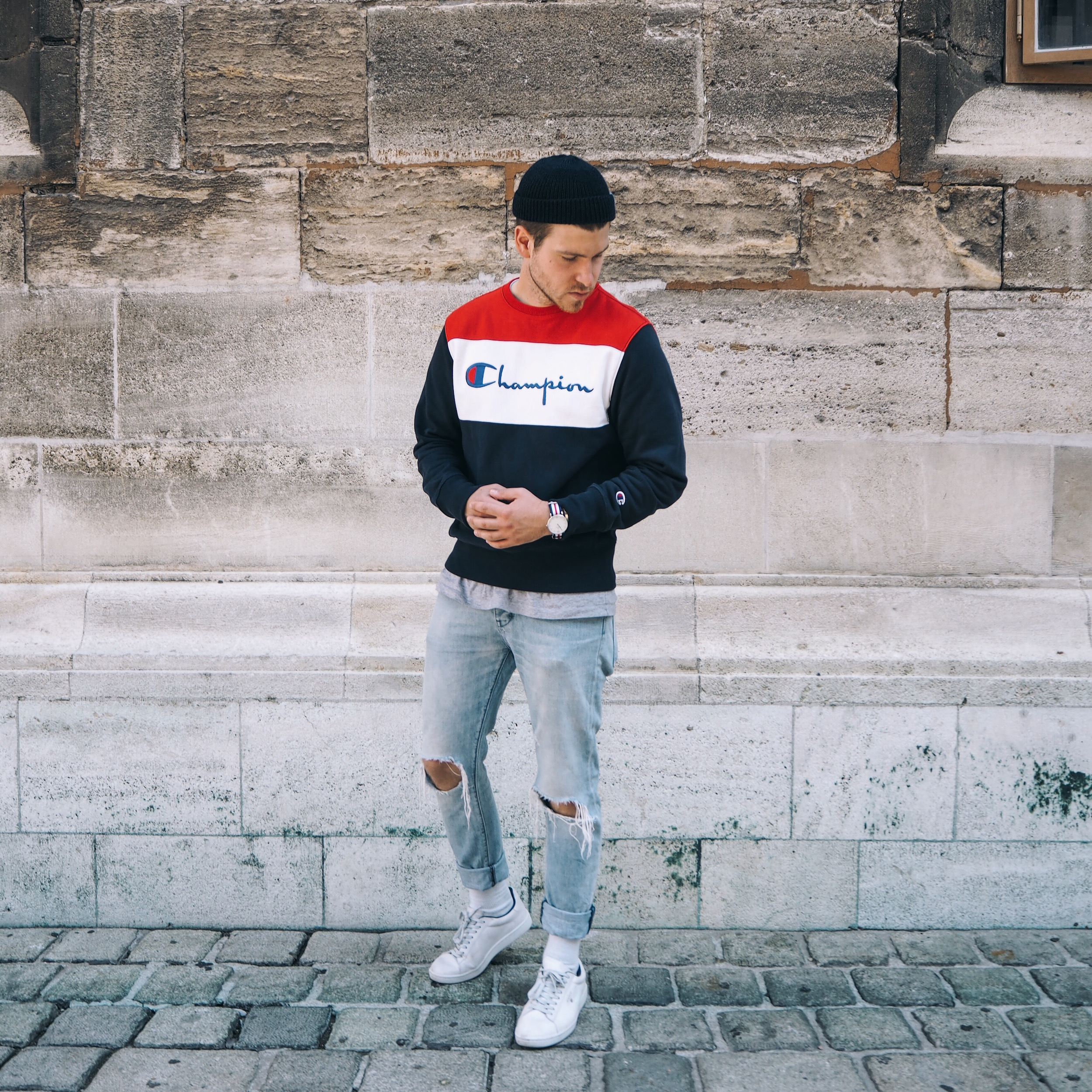 Champion Sports and Urbanwear New Collection Champion Sweater Neuw Denim Ripped Jeans Meanwhile in Awesometown Austrian Mens Fashion and Lifestyle Blog