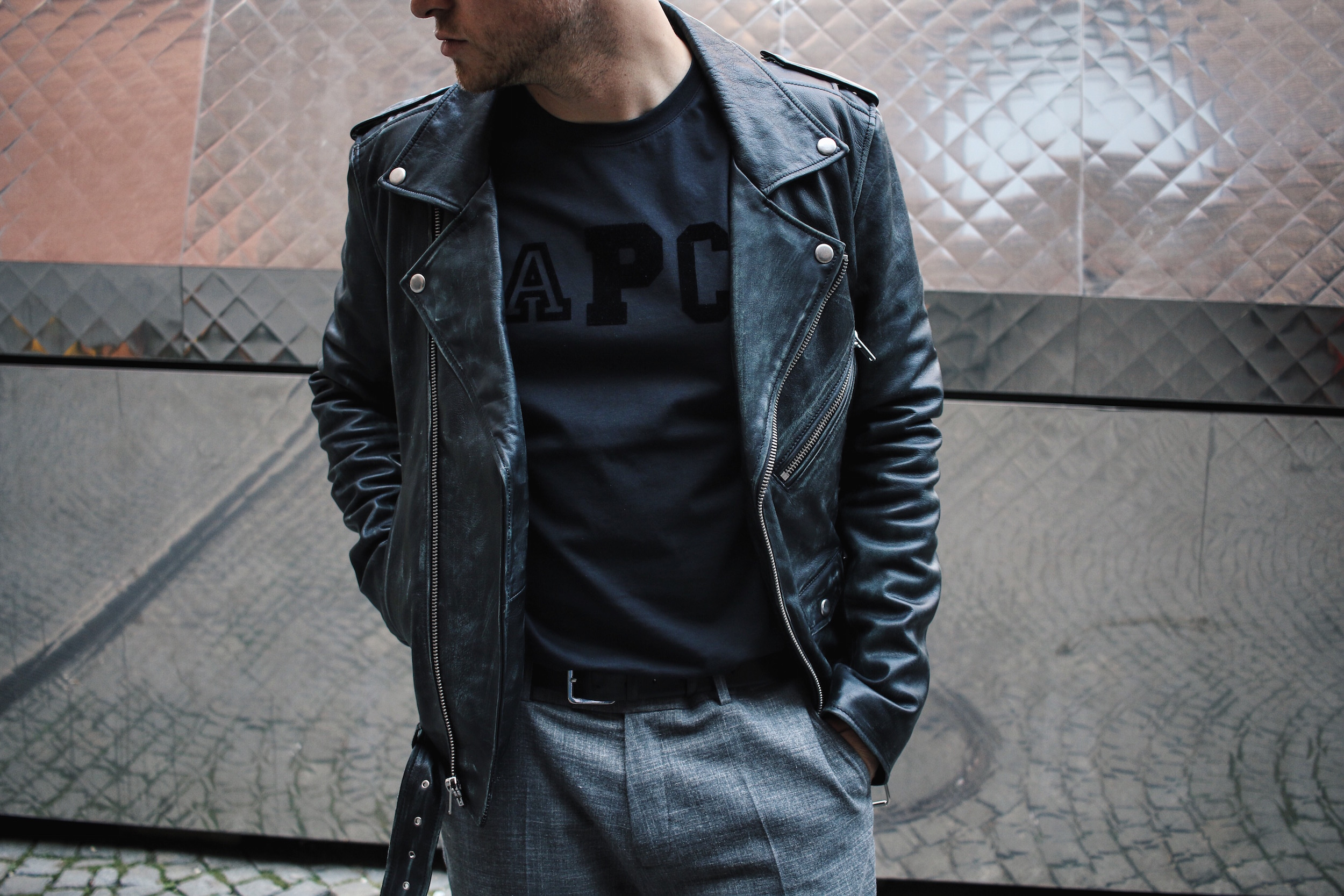 Mens leather jacket paris