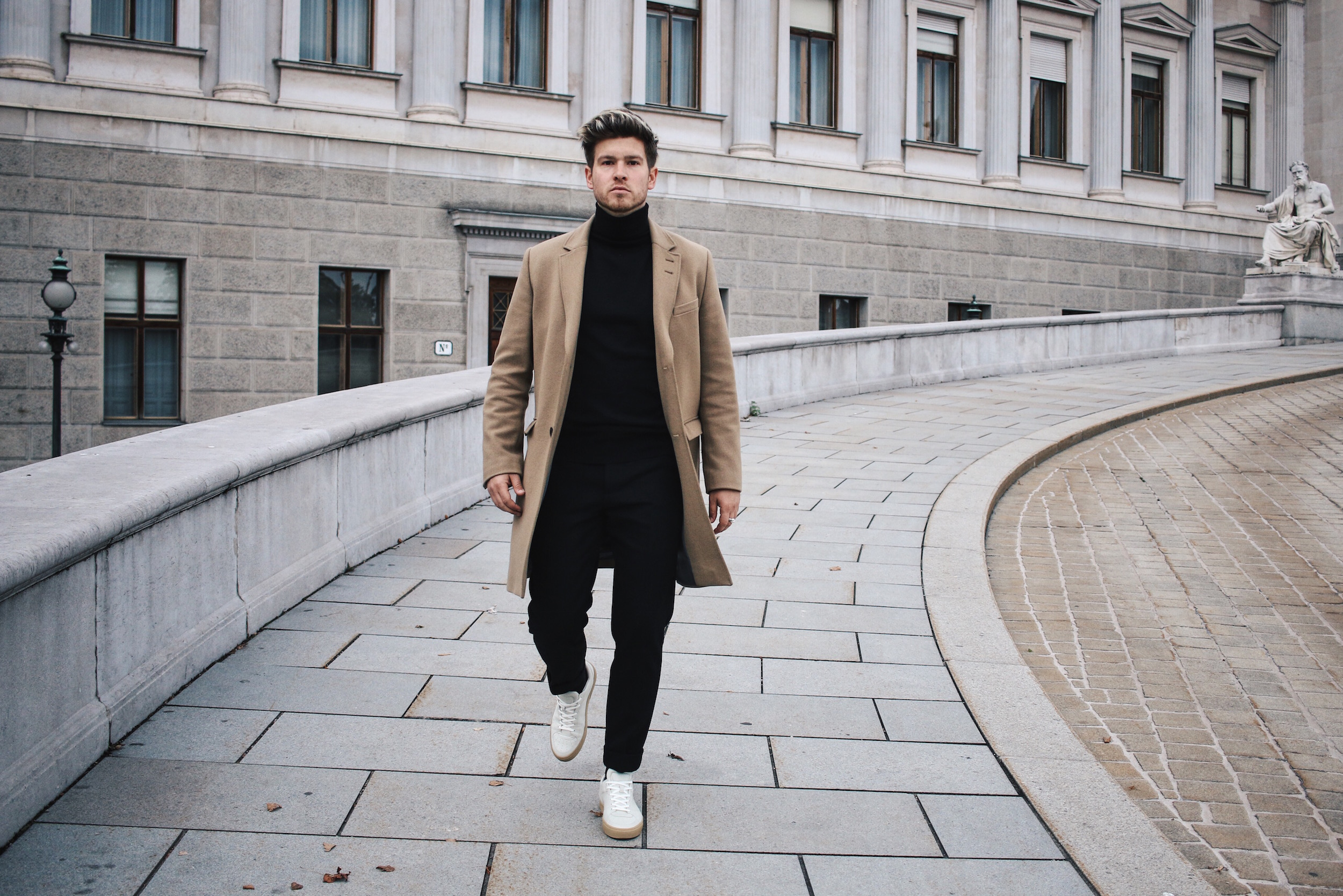 Tiger of Sweden Camel Coat_Turtleneck Sweater_All Black_VOR Shoes_Outfit by Meanwhile in Awesometown_Austrian Mens Fashion and Lifestyle Blogger